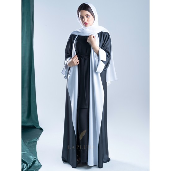 AM4001 Chiffon wrap abaya in black color, lined with white, with opening on the sleeves and the bottom corner for those who love elegance the headcover not included