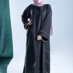 AM4002 Formal crepe abaya with colorful yarn embroidery on the sleeves and sides