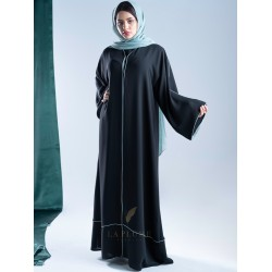 AM4003 Formal crepe abaya with embroidery  colored slit on the bottom corner