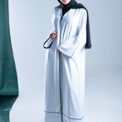 AM4004 Formal white abaya with black embroidery slit on the bottom corner the headcover not included