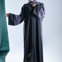 AM4005 Special two-color abaya with attractive black crepe and purple color embroidery on the front the headcover not included