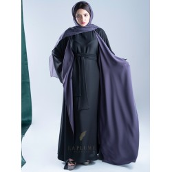 AM4010 Chiffon wrap abaya in black color, with colorful lining, with opening on the sleeves and the bottom corner for those who love elegance the headcover not included