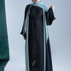 AM4011 Chiffon wrap abaya in black color, with colorful lining, with opening on the sleeves and the bottom corner for those who love elegance the headcover not included