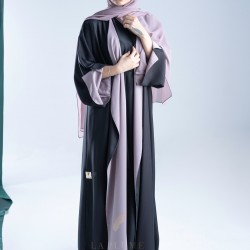 AM4012 Chiffon wrap abaya in black color, with colorful lining, with opening on the sleeves and the bottom corner for those who love elegance the headcover not included