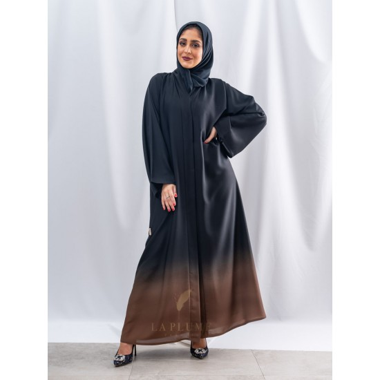 AM4014 Distinctive black abaya with brown, nada fabric, with collar neck the headcover not included