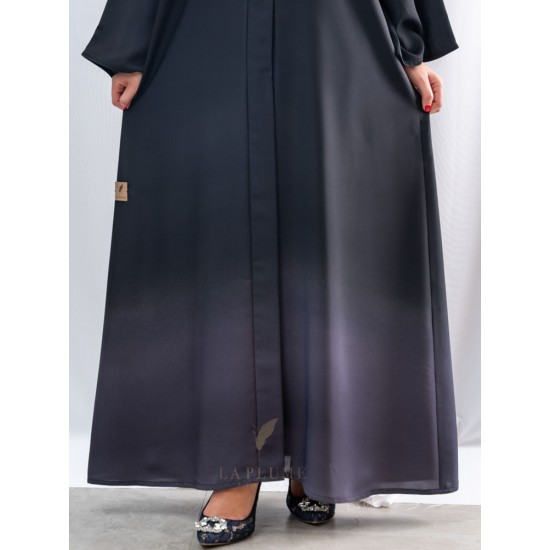 AM4015 Distinctive black abaya with silver, nada fabric, with collar neck the headcover not included