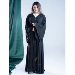 Black abaya double chiffon french sleeve AS1001