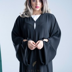 Classy plain black crepe abaya with a modern touch on the sleeves, with black cord embroidery on the sides AS1003
