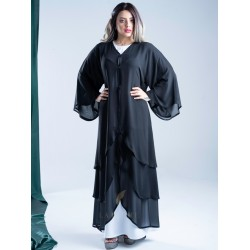 Classy abaya with double chiffon fabric, with three layers curve on the front, with a French sleeve AS1004