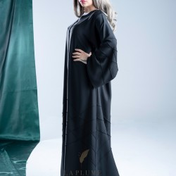 Classic black crepe abaya, embroidered with stripes in the middle and on the sleeves AS1006
