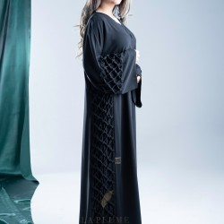 AS1008 modern crepe abaya with a new and unique design of its kind and attractive, It done with hand-stitched in a very carefully to suit you