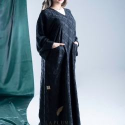 AS1009 black abaya with light fabric with beautiful patterns and details Very comfortable with wide side pockets