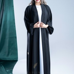 AS1010 Abaya with crepe fabric, original Japanese %100 plain, with a neck collar type v
