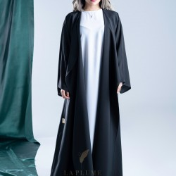 AS1011 Abaya with crepe fabric 100% original Japanese, elegant and classy design with belt with long sleeves
