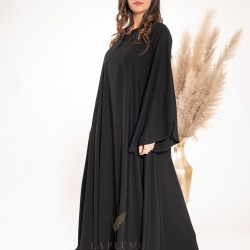 AS1012 Klush closed abaya with a plain black crepe fabric, round neck collar and wide sleeves with curve on the sides