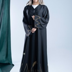 AK3001 hand work Abaya with golden lines on the edges of the sleeve and the bottom of the abaya with crepe fabric