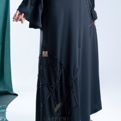AK3004 A hand work black abaya with a stylish design on the sides and sleeves with a crepe fabric