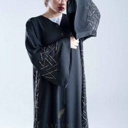 AK3006 A hand work Abaya with golden color scattered lines mixed with black on the sleeves and sides with a crepe fabric and a French sleeve