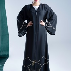 AK3008 Double Chiffon Abaya with a hand work in silver color with intertwining stripes at the bottom of the abaya and on the French sleeves