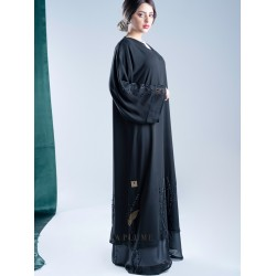 AK3009 Two layers Chiffon Abaya with hand work design that is attractive, modern and quiet