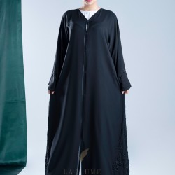 AK3010 A hand work floral style abaya dangling on the sides, black color, and a light touch on the French sleeve, double chiffon fabric