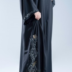 AK3011 Abaya with hand work shiny, the top of beauty and elegance, double chiffon fabric