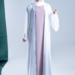 AK3012 A colorful abaya with a hand work in the form of flowers in golden color on the sides with a French sleeve the headcover not included